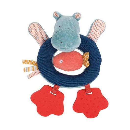Мягкая игрушка-прорезыватель для зубов Бегемотик
